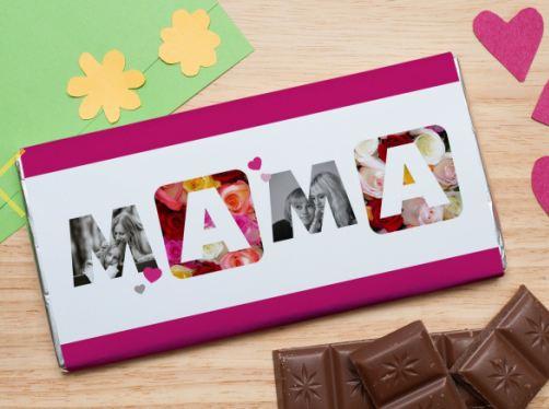 Шоколадная открытка мама