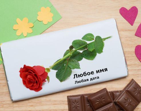 Шоколадная открытка роза