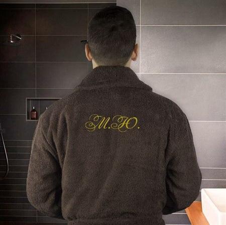 Мужской махровый халат с вышивкой инициалы