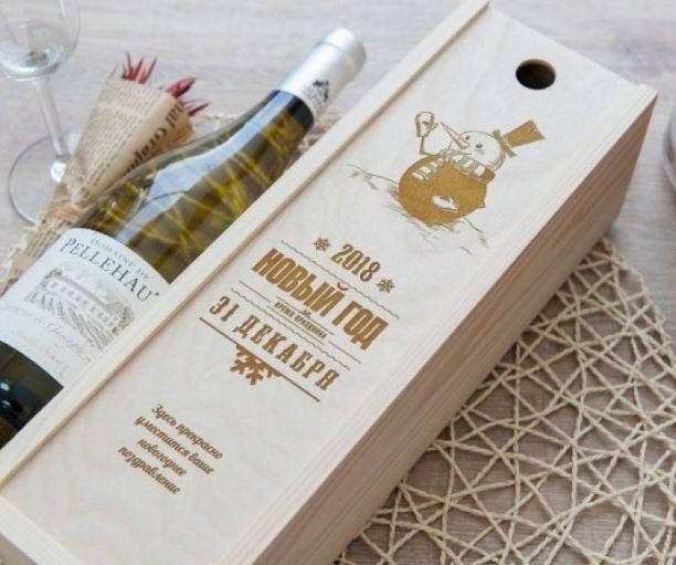 Коробка для вина снеговик