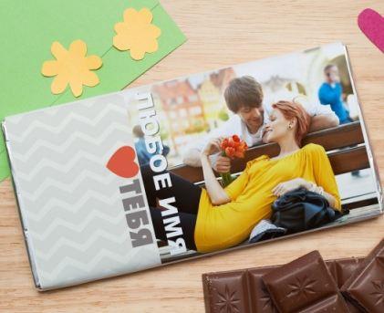 Шоколадная открытка жене