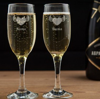 Бокал для шампанского с гравировкой противоположности