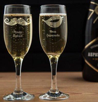 Бокал для шампанского с гравировкой стильная пара