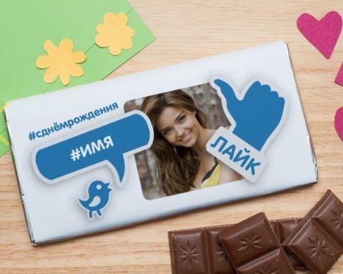 Шоколадная открытка лайк